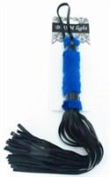 Нежная плеть с синим мехом BDSM Light - 43 см. - фото 1661042