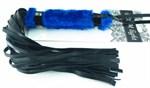 Нежная плеть с синим мехом BDSM Light - 43 см. - фото 1661041