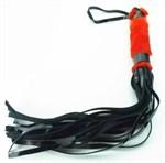 Плеть из лака с красным мехом BDSM Light - 43 см. - фото 1158035