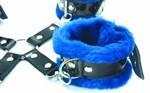 Набор фиксаторов с синим мехом BDSM Light - фото 1527970