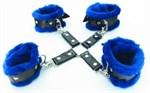Набор фиксаторов с синим мехом BDSM Light - фото 1527968