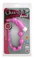 Розовая анальная цепочка с виброзайкой на кончике CHEERFUL BEAD RABBIT - фото 1158520