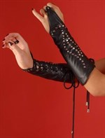 Кожаные нарукавники на шнуровке - фото 1188789