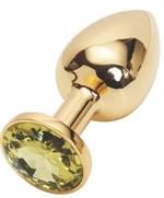 Золотистая анальная пробка с желтым кристаллом - 7,6 см. - фото 193345