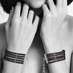 Чёрные дизайнерские наручники Plaisir Nacre Bijoux - фото 1191786
