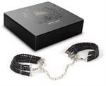Чёрные дизайнерские наручники Plaisir Nacre Bijoux - фото 1191784