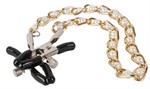 Зажимы на соски с золотистой цепью и белыми бусинками - фото 248279