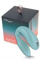 Голубой вибромассажер для пар We-Vibe Sync Aqua на радиоуправлении - фото 148758