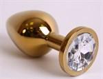 Большая золотистая анальная пробка с прозрачным кристаллом - 9,5 см. - фото 194602
