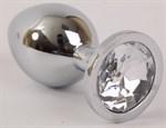 Серебристая анальная пробка с прозрачным стразом - 9,5 см. - фото 194620