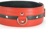 Черно-красный кожаный ошейник увеличенного размера - фото 1529993