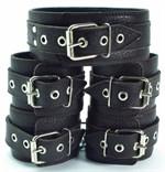 Набор коричневых фиксаторов: наручники с мехом, наножники и ошейник  - фото 1160316