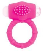 Розовое эрекционное виброкольцо A-toys - фото 1664123