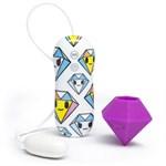 Фиолетовый клиторальный стимулятор-бриллиант SILICONE PURPLE DIAMOND CLITORAL VIBRATOR - фото 466572
