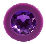 Фиолетовая анальная пробка с кристаллом - 8 см. - фото 1317680