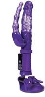 Фиолетовый анально-вагинальный вибратор на присоске A-toys - фото 651270
