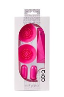 Розовые вибростимуляторы с щёточками для стимуляции клитора и сосков - фото 1163499