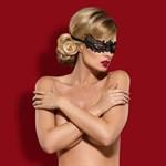 Чёрная ажурная маска на глаза - фото 317042