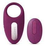 Фиолетовое эрекционное кольцо Winni Violet с вибрацией и пультом ДУ - фото 1200614