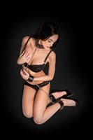 Чёрный двусторонний комплект для бандажа Reversible Collar / Wrist / Ankle Cuffs - фото 1164620