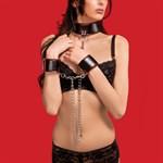 Чёрно-красный двусторонний ошейник с наручниками Reversible Collar and Wrist Cuffs - фото 1164638