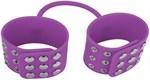 Фиолетовые силиконовые наручники с заклепками - фото 228574