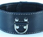 Черный кожаный ошейник с петлёй для поводка - фото 1164756