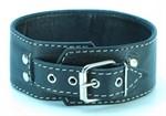 Черный кожаный ошейник с петлёй для поводка - фото 1164757