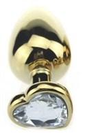Золотистая пробка с прозрачным кристаллом-сердечком - 8 см. - фото 199419