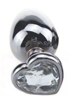 Серебристая пробка с прозрачным кристаллом-сердечком - 9 см. - фото 199436