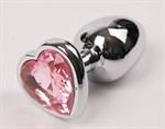 Серебристая анальная пробка с розовым стразиком-сердечком - 9 см. - фото 199437