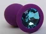 Фиолетовая силиконовая пробка с голубым стразом - 9,5 см. - фото 199466