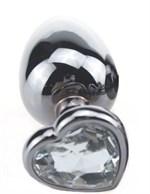 Малая серебристая пробка с прозрачным кристаллом-сердечком - 7,5 см. - фото 1165069