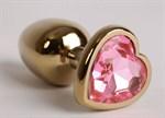 Золотистая анальная пробка с розовым стразиком-сердечком - 9 см. - фото 199805