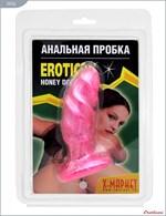 Розовая анальная пробка анатомической формы - 13 см. - фото 229486