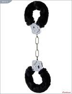 Металлические наручники с чёрным мехом и ключиками - фото 1165660