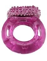 Эрекционное кольцо с виброэлементом и пупырышками - фото 229778