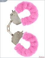 Металлические наручники с розовым мехом - фото 229890