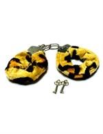 Металлические наручники с мехом тигровой расцветки - фото 1165962