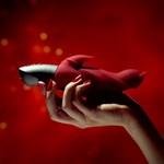 Малиновый вибратор Darling Devil с клиторальным отростком - 20,5 см. - фото 230184