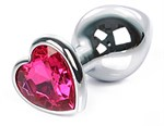 Серебристая анальная пробка с ярко-розовым кристаллом-сердцем размера L - 9,5 см. - фото 250650