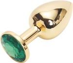 Золотистая анальная пробка с зеленым кристаллом размера M - 8 см. - фото 228342