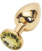 Золотистая анальная пробка с жёлтым кристаллом размера M - 8 см. - фото 250662
