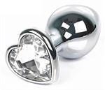 Серебристая анальная пробка с прозрачным кристаллом-сердцем размера L - 9,5 см. - фото 200917