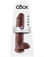 Коричневый фалоимитатор-гигант на присоске 11  Cock with Balls - 28 см. - фото 200953