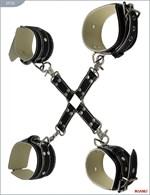 Крестовина с карабинами и манжеты для рук и ног из чёрной кожи - фото 320020
