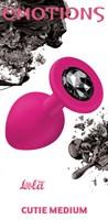 Средняя розовая анальная пробка Emotions Cutie Medium с чёрным кристаллом - 8,5 см. - фото 231302