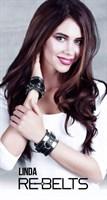 Черные наручники Linda Black с зеркальным элементом и ремнями - фото 1167452