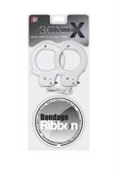 Набор для фиксации BONDX METAL CUFFS AND RIBBON: белые наручники из листового материала и липкая лента - фото 1167770