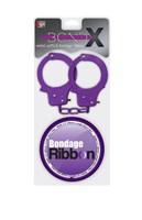 Набор для фиксации BONDX METAL CUFFS AND RIBBON: фиолетовые наручники из листового материала и липкая лента - фото 231773